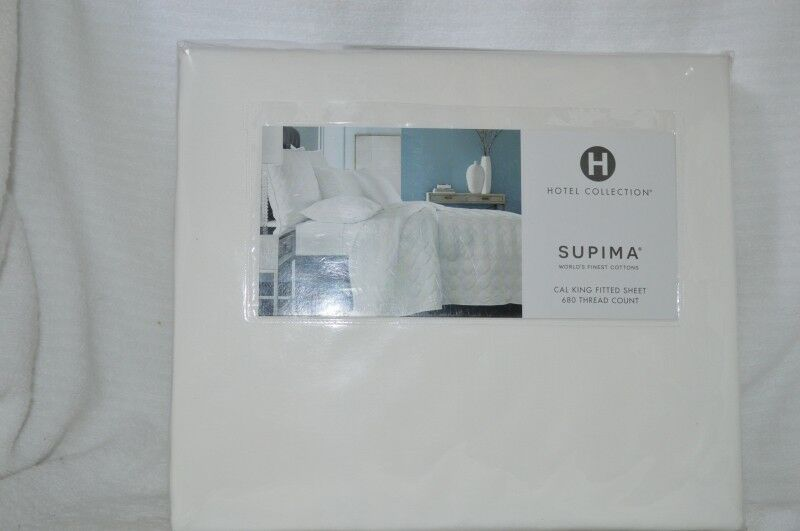Hotel Collection-Supima 680TC Cal King Fitted Sheet Set White NIP