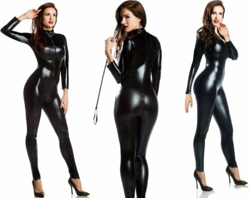 Wet Sexy way Stretch Valentine 4 Supereroe Party Black Pvc Catsuit Look tuta qrrIgxwCH