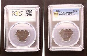 2 Peniques Moneda de Curso 1959J Pulida Placa Edición de Sólo 45 Ejemplares PCGS