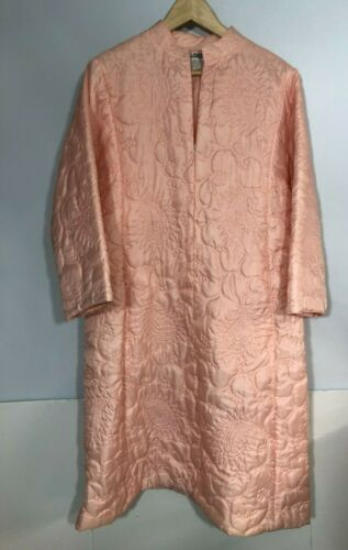 I. Magnin Vintage Hostess Coat Quilted Pink House