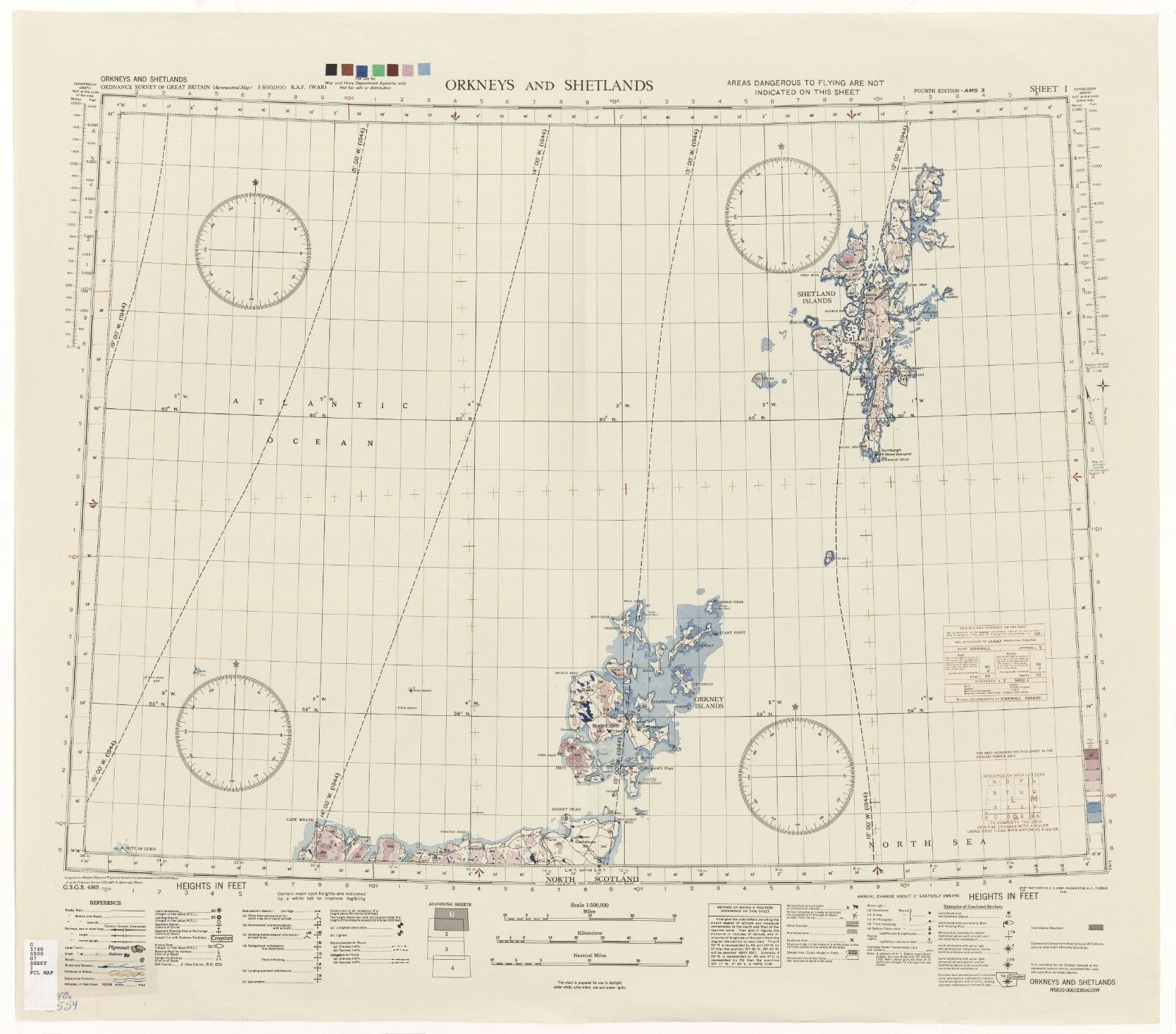 WW2 RAF MAP OF ORKNEYS AND SHETLANDS PRINT