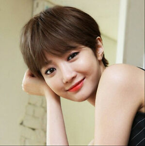 fashion short straight light brown synthetic hair women s