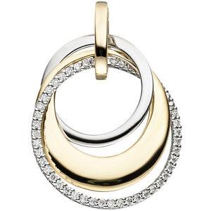 NEU-Diamanten-Anhaenger-bicolor-585er-echt-Gold-Gelbgold-Brillant-0-21-ct-14-KT