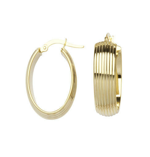 8mm Wide Textured Ribbed Oval Hoop Earrings Real 14K Yellow gold 2.6 grams