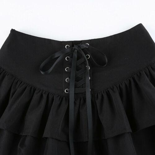 Women/'s Punk Lace-up Zipper High Waist Multilayer Ruffle Hem Flared Mini Skirt