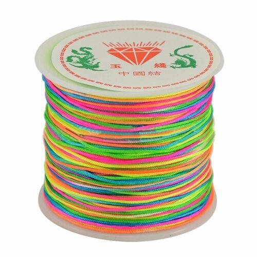 45m Corde de Nylon Fil Noeud Chinois Macramé Bracelet Tressée à 0.8mm Petit