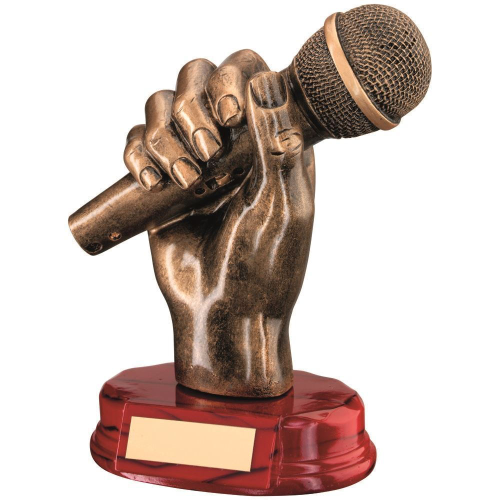 BRZ gold RESIN MICROPHONE IN HAND TROPHY - 7in