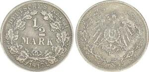 Imperio, 1/2 Marco Plata 1917 Para EBC 50772