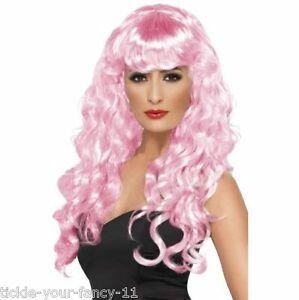 Women s Girls Pink Siren Wigs 80 s Glamour Fancy Dress Wig Wonder ... cf2ec2b1ec