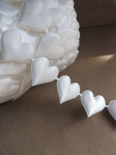 1M of 25mm wide Ivory Hearts Love trim ribbon wedding satin May Art style cut