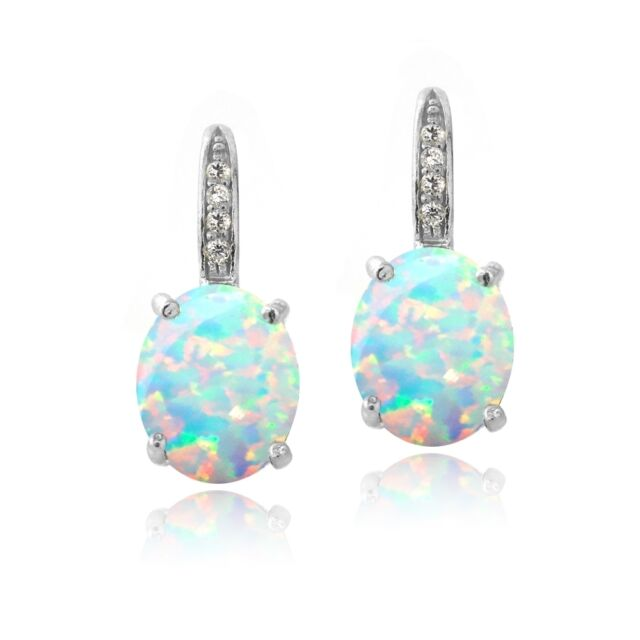 925 Silver Created Opal Diamond Accent Oval Leverback Earrings