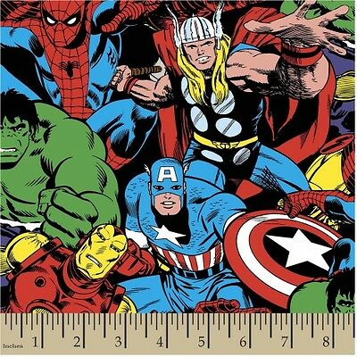 """MARVEL COMIC FABRIC  CHARACTERS  WOLVERINE HULK  SUPERHEROES COTTON 26/"""" REMNANT"""