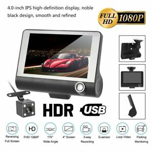 "4"" 1080P HD 170° 2 Lens Car DVR Dash Cam G-sensor Recorder + Rearview Camera"