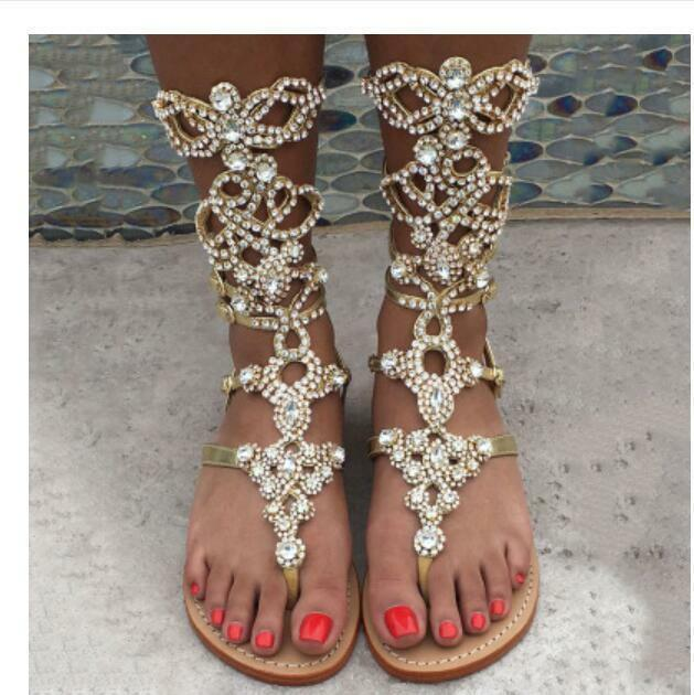 Women's summer cut out Gladiator Glitter Strappy Sandals Rhinestone Flats boots
