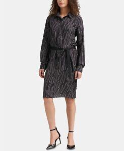 DKNY-Women-039-s-Printed-Collared-Long-Sleeves-Shirt-Dress-Black-Medium-Size