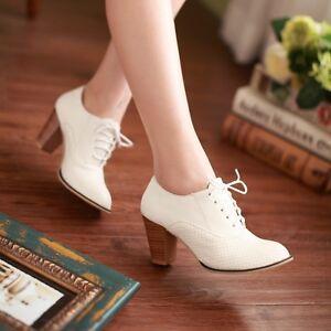 Chic-Womens-Fashion-Block-Mid-Heel-Lace-Up-Brogue-Oxfords-Pumps-Shoes-Plus-Size