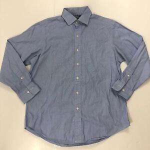 Polo-Ralph-Lauren-Men-039-s-Size-16-5-32-33-Blue-Long-Sleeve-Button-Down-Shirt