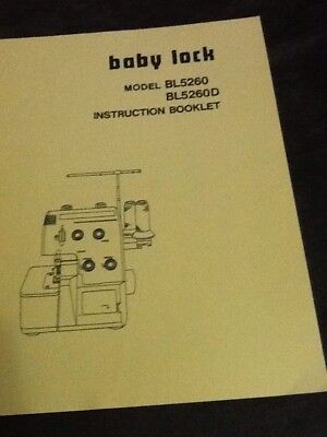 Baby Lock Serger Bl5260 Amp Bl5260d Manual Instruction