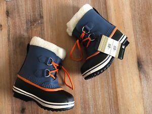 07b638854a6 NWB Sorel Children Boots Navy orange 10 Waterproof Yoot PAC TP Snow ...