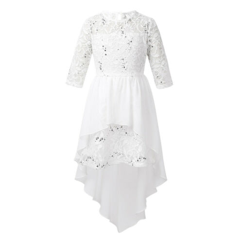 Kids Girls Princess Lace Dress 3//4 Sleeves Wedding Formal Party Pageant Outfit