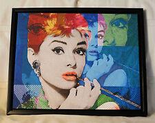 Audrey Hepburn Giclee on Canvas Pixelated Breakfast at Tiffanys Framed Decor Art