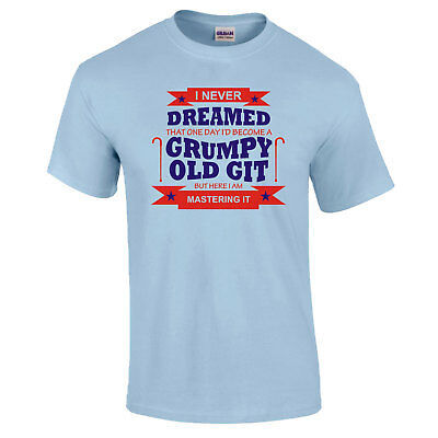Funny Dad Fathers Day Grandad Gift OLD GRUMPY T-SHIRT WHITE PRINT
