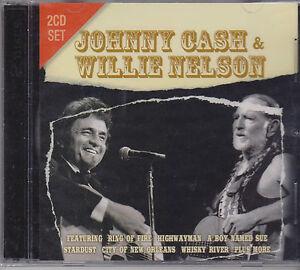 JOHNNY-CASH-amp-WILLIE-NELSON-LIVE-on-2-CD-039-s