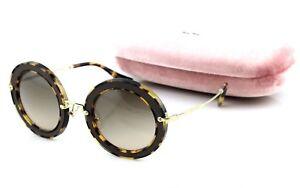 a636d6849 NEW Genuine MIU MIU Brown Suede Havana Gold Round Sunglasses MU 08RS ...