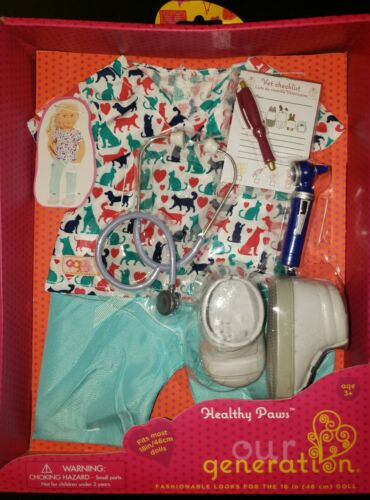 """New Our Generation Healthy Paws Veterinarian 18/"""" Doll Outfit Shoes Stethoscope"""