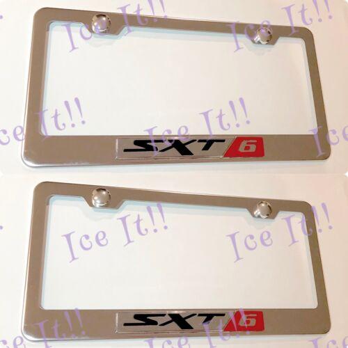 2X 3D SXT 6 Dodge Jeep Emblem Stainless Steel License Plate Frame Rust Free