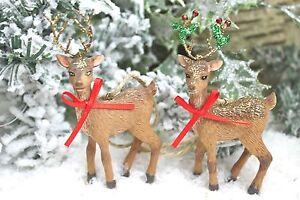 Gisela-Graham-Navidad-Invierno-Bosque-Resina-Reno-Decoracion-x2