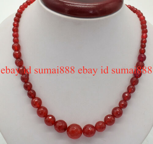 Faceted 6-14mm Red Ruby Gemstone Round Beads Necklace 18/'/' AAA+