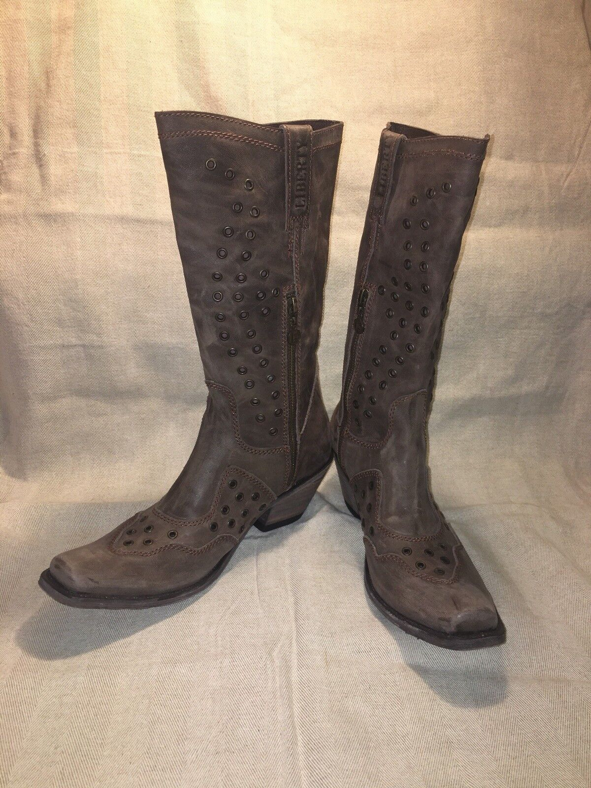 Liberty Black Boots, America Cafe Lote Distressed Brown Leather Women's Size 9
