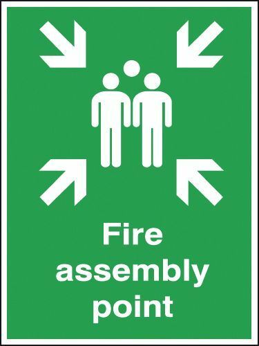 OFFICE SHOP Fire safety signs Fire Assembly point sticker HSE