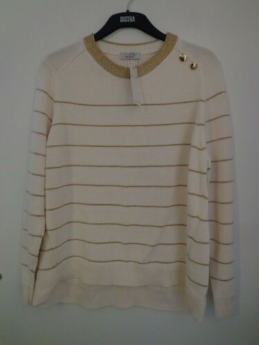 BNWT Donna M/&S Per Una gamma a maniche lunghe panna//oro Maglione Taglia 20 R//P £ 35