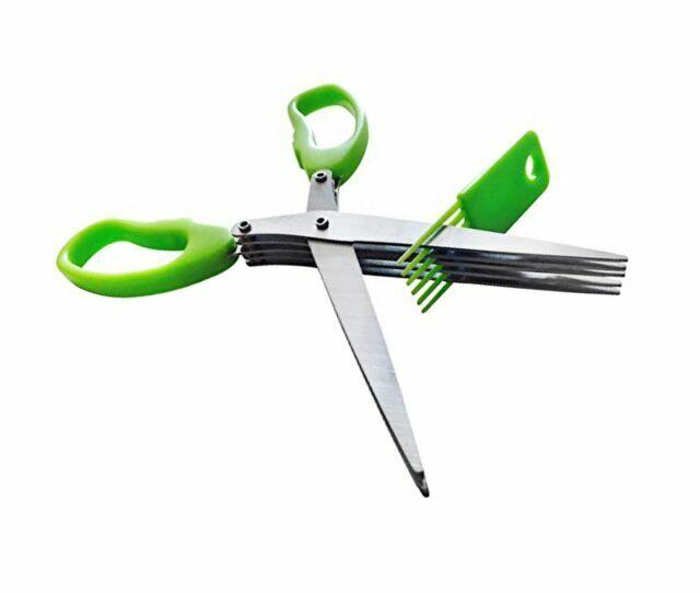 "Master Culinary Multipurpose 5-blade Herb Scissors w// /""Longfinger/"" Cleaning Brus"