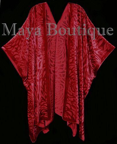 Velvet True Kimono Camellia Red Caftan Jacket Burnout Maya Made Usa Matazaro ag5Wq7fX