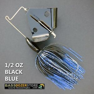 Buzzbait-RAPPER-1-2-oz-BLACK-BLUE-buzz-bait-buzzbaits-KVD-trailer-hook
