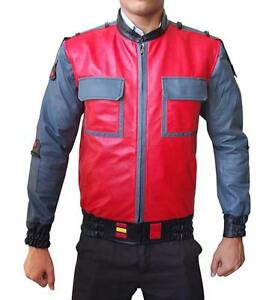 Men-039-s-Back-to-the-Future-Marty-McFly-Synthetic-Leather-Jacket-All-Sizes