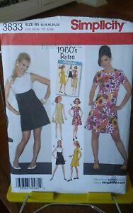 Oop-1960s-retro-Simplicity-3833-girls-mod-mini-dress-shaped-seams-sz-14-22-NEW