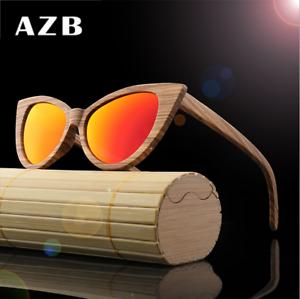 056187052c8d Image is loading AZB-Handmade-Women-Zebra-Wood-Polarized-Sunglasses-Wood-