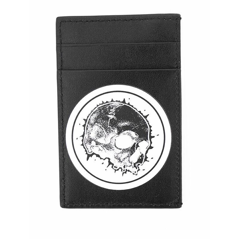 NEW ALEXANDER MCQUEEN Black Leather SKULL Printed Motif CARD CASE