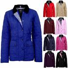 Women's Quilted Button Zip Up Padded Ladies Winter Coat Jacket Sizes 8-26