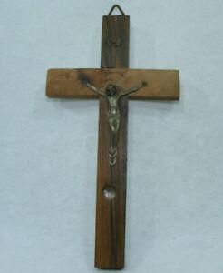 Ancien Crucifix souvenir JERUSALEM 12cm Relique grain d sable Terre Sainte JESUS
