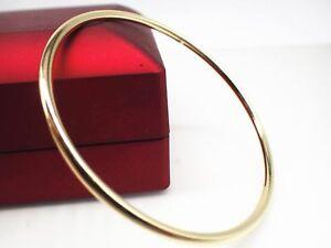 Ladies-14ct-9ct-Yellow-gold-GF-golf-solid-design-bangle-bracelet-3mm-70mm