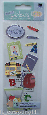 ~1ST DAY OF SCHOOL~ A Touch Of Jolee's Boutique Dimensional Stickers; first, bus