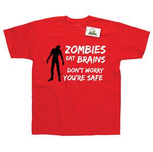Zombis-Comer-Cerebro-Don-039-T-Worry-You-039-Re-Seguro-Camiseta-Estampada