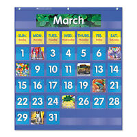 Scholastic Monthly Calendar Pocket Chart 25 1/2 X 10 X 0.13 Blue/clear 511479