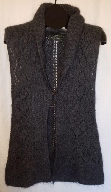 EDDIE BAUER Size M Gray Hand Knit Sleeveless Sweater Vest Cardigan Mohair