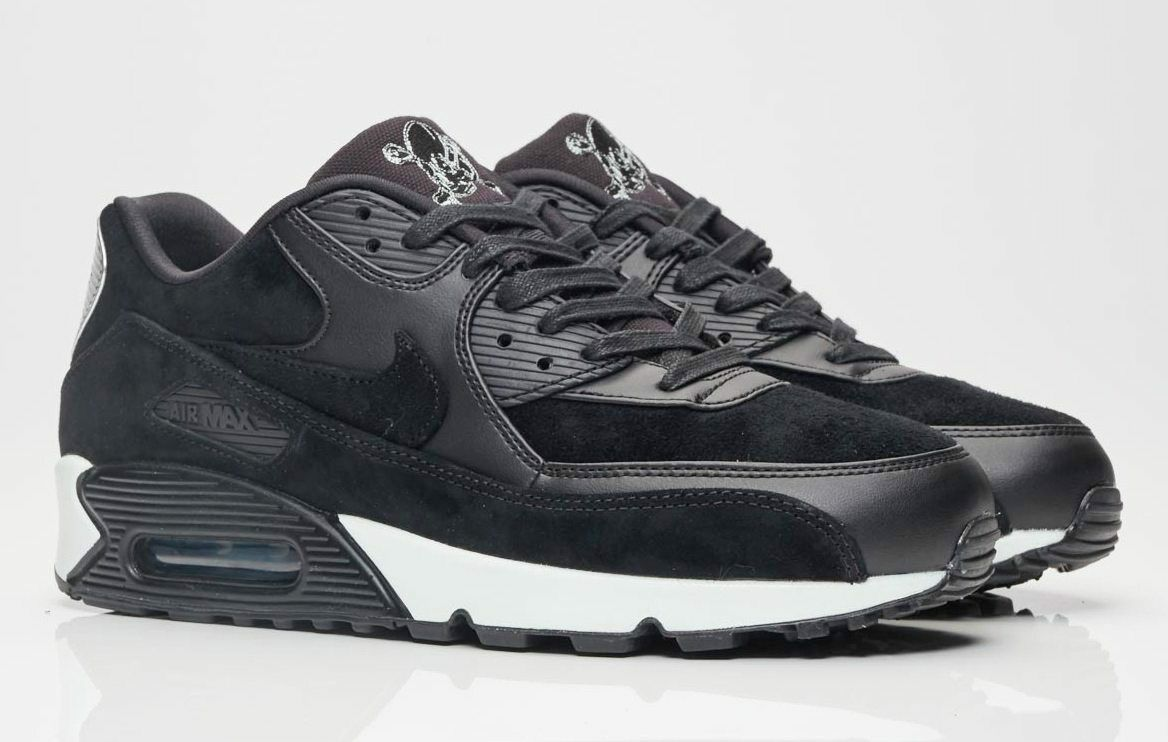 NIB NIKE Mens 11.5 AIR MAX 90 PREMIUM REBEL SKULLS 700155 009 BLACK SHOES